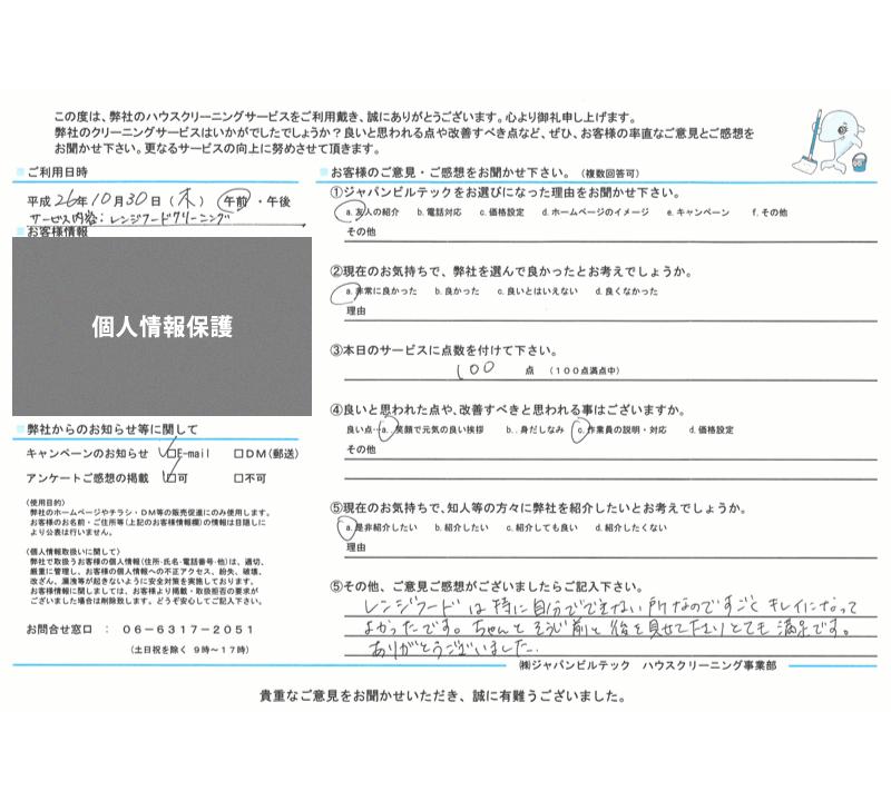 ハウスクリーニング大阪吹田 お客様の口コミ(評価)261030